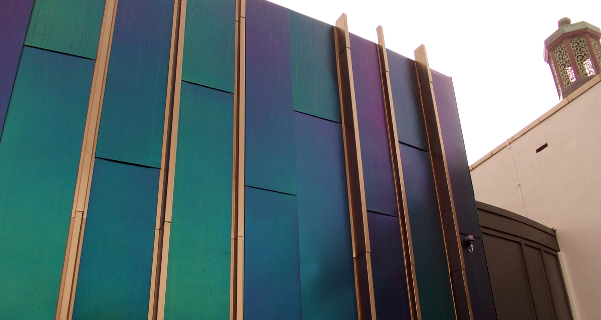 Rimex iridescent stainless steel cladding at Bispham Library 2