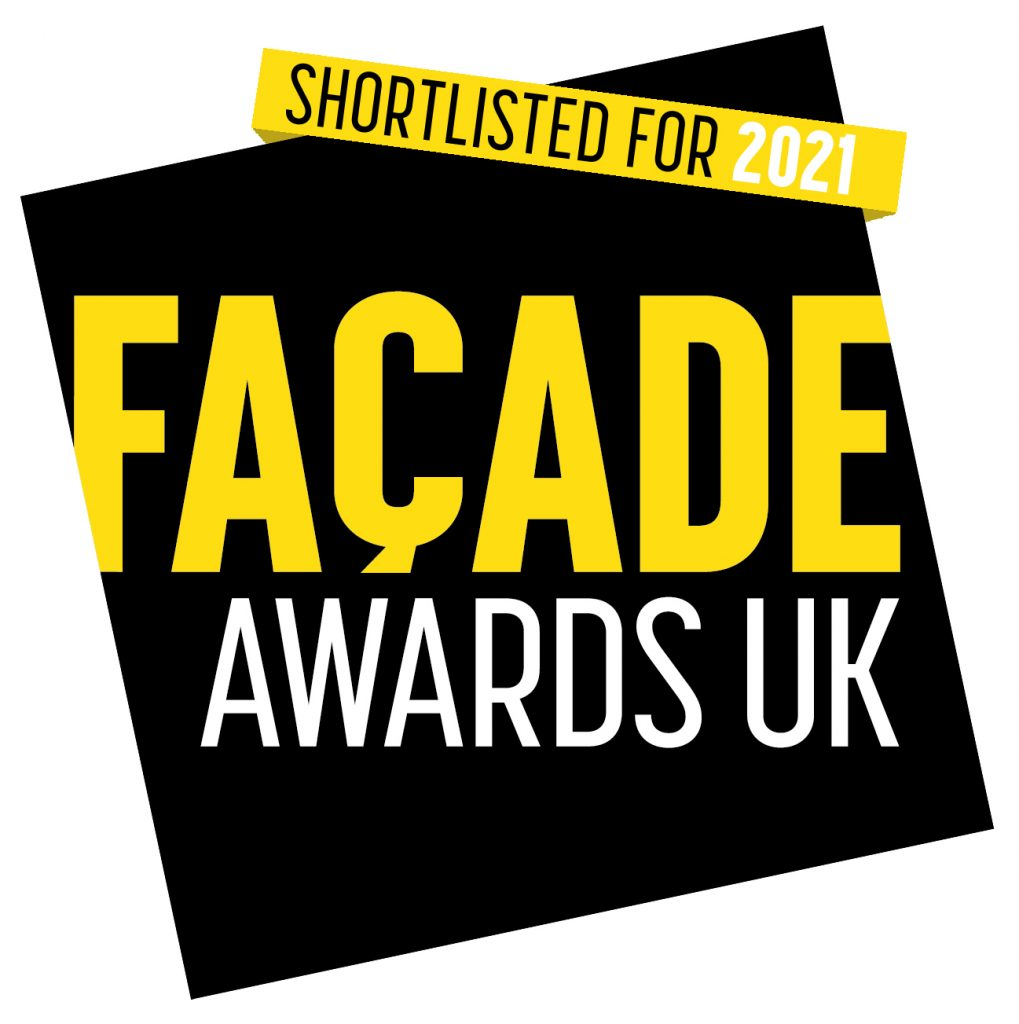 Facade award logo. Black background with yellow and white text. Shortlisted entry into awards