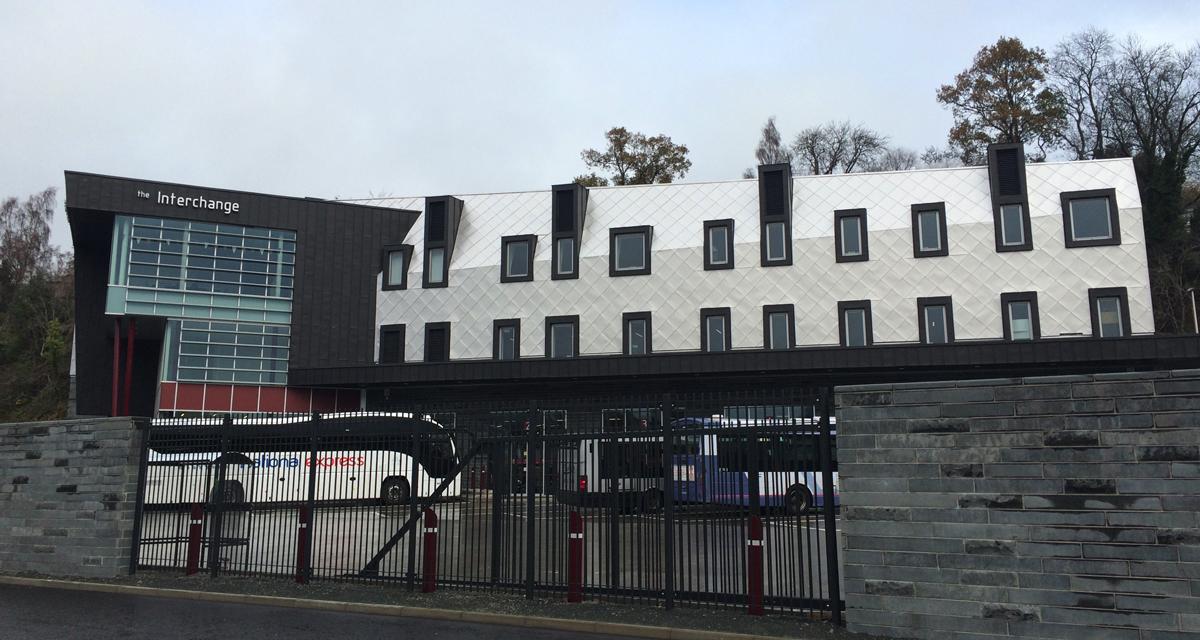 Zinc roofing and cladding Galashiels Transport Interchange Longworth D% Architects Morrison Construction 1