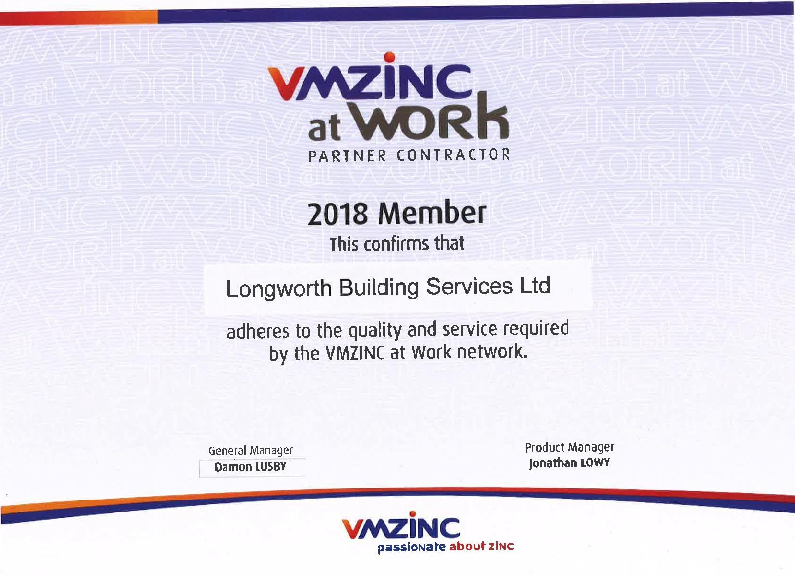 VMZINC at work Longworth certificate