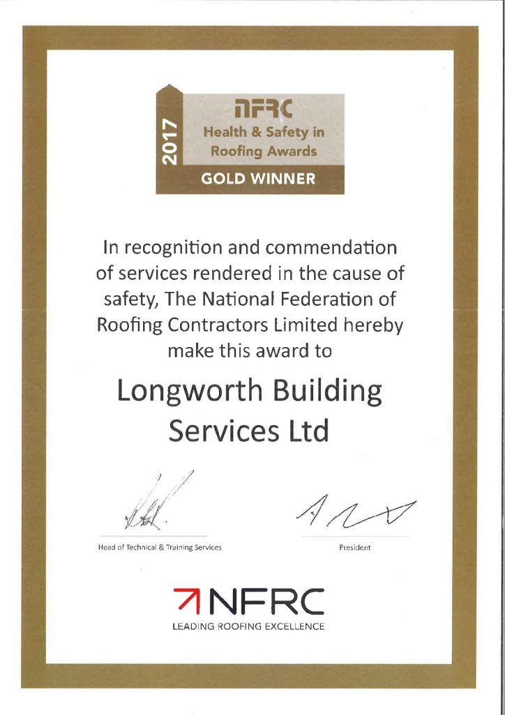 NFRC Gold Winner Health and Safety Certificate 2017