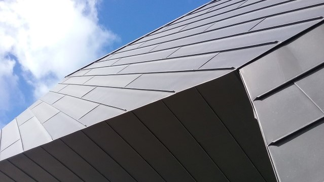 Zinc roofing and cladding Astley Point Longworth standing seam in contrasting directions