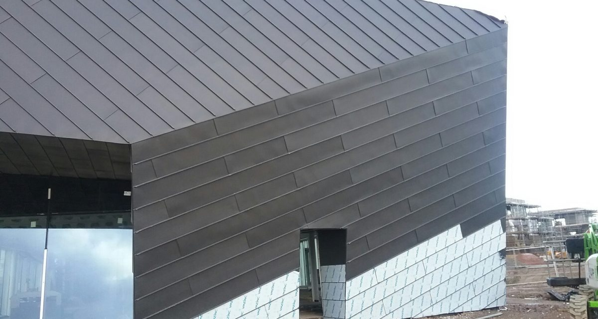 Zinc roofing and cladding Astley Point Longworth VM ZINC roofing and cladding standing seam in contrasting directions