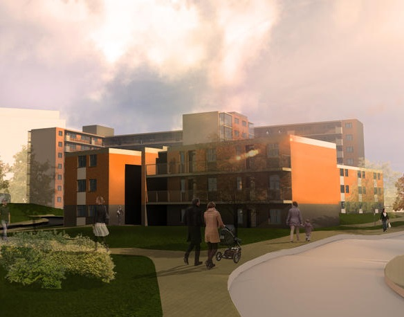 CGI of Canon Green Court Development in Salford