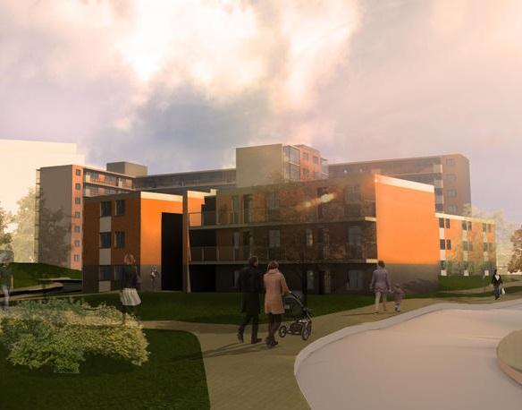 CGI of Canon Green Court Development in Salford