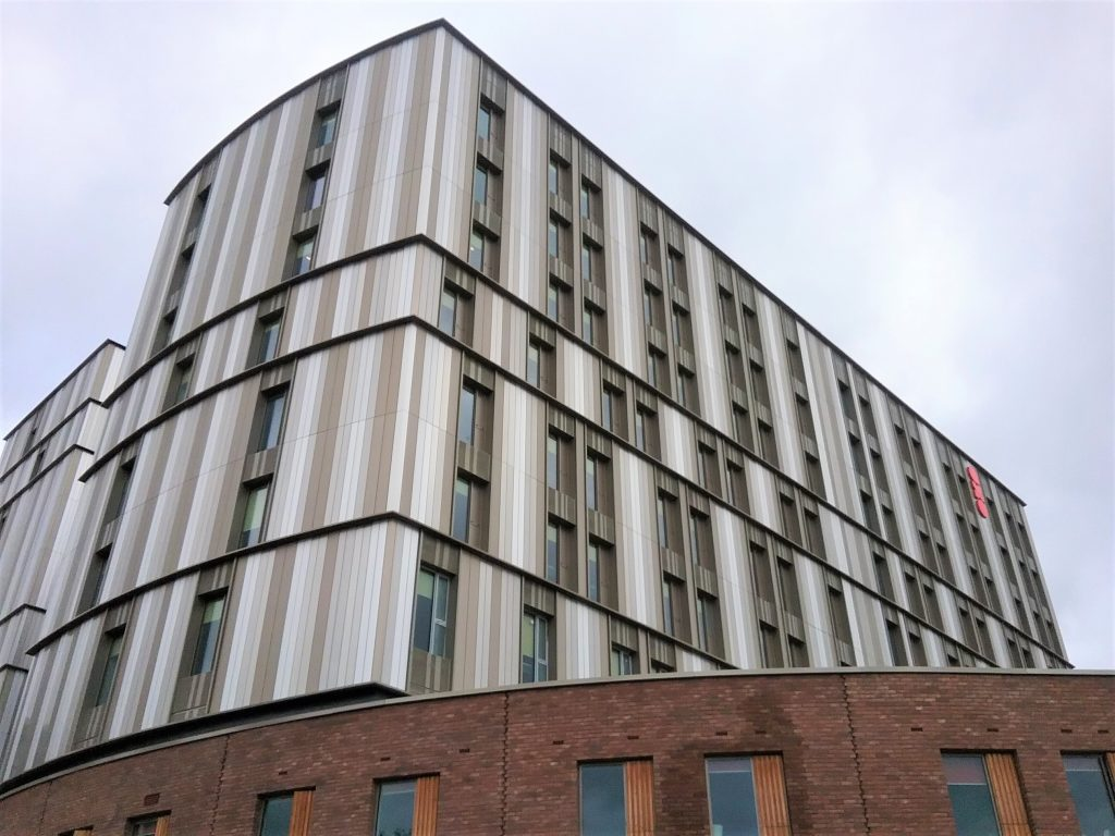 Aluminium rainscreen cladding in three different colours to student accommodation