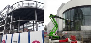 Curved shopfront steelwork and cladding