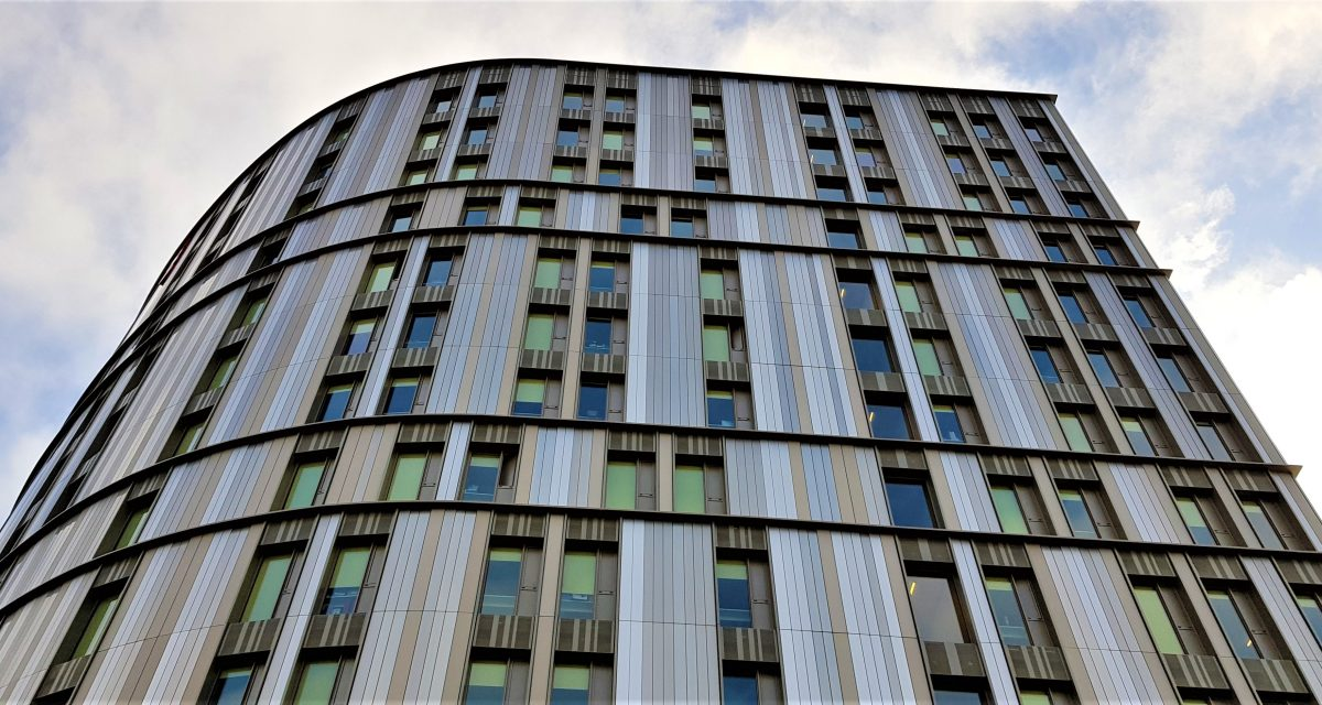 Photo of completed rainscreen panels at Paradise Street Coventry