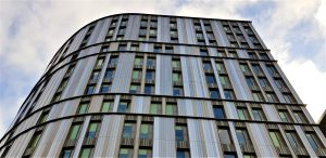 Photo of completed rainscreen panels at Paradise Street Coventry NFRC Roofing finalists