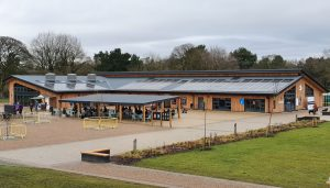 Timber clad building with metal roof. Visitors centre for Delamere Forest. RCI Magazine Facade Awards 2021!